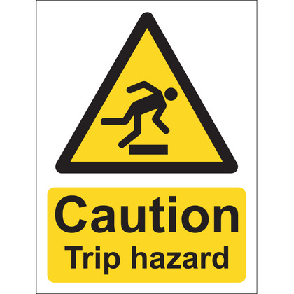 Caution Trip Hazard Sign, Vinyl, 15x20cm