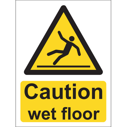 Caution Wet Floor Sign, Vinyl, 15x20cm