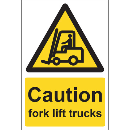 Caution Fork Lift Trucks Sign, 20x30cm (Rigid)