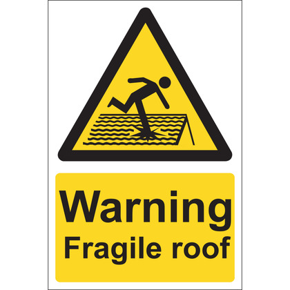 Warning Fragile Roof Sign, Rigid, 20x30cm