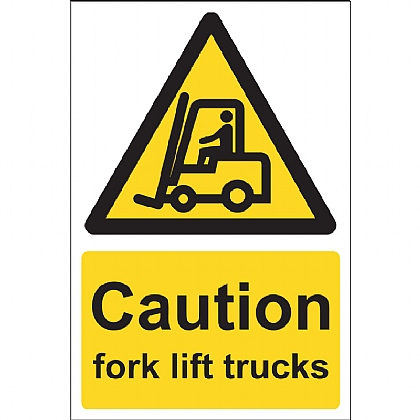 Caution Fork Lift Trucks Sign, 15x20cm (Vinyl)