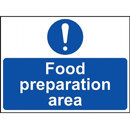 Food Preparation Area Sign VINYL 20x15cm
