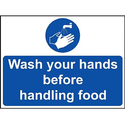 Wash Your Hands Before Handling Food Vinyl Sign 20x15cm