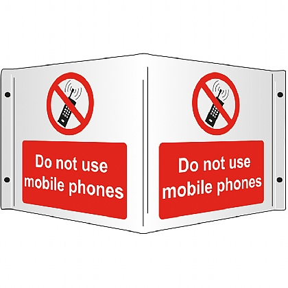 Do Not Use Mobile Phones Rigid 3D Projecting Sign 43x20cm