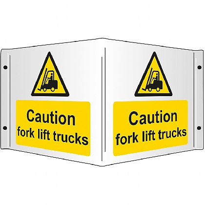 Caution Fork Lift Trucks Rigid 3D Projecting Sign 43x20cm