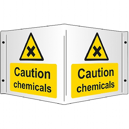 Caution Chemicals Rigid 3D Projecting Sign 43x20cm