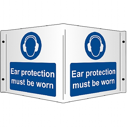 Hearing Protection Must Be Worn Rigid 3D Projecting Sign 43x20cm