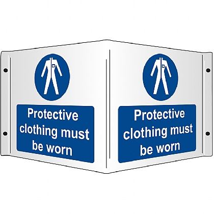 Protective Clothing Must be Worn Rigid 3D Projecting Sign 43x20cm