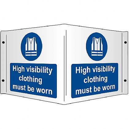 High Visibility Clothing Must be Worn Rigid 3D Projecting Sign 43x20cm