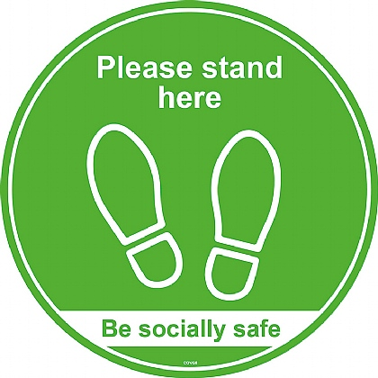 Please Stand Here / Be Socially Safe (Floor Graphic) 200mm diameter