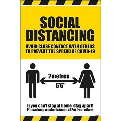 Social Distancing Instruction Label (Self Adhesive Vinyl) 300x200mm