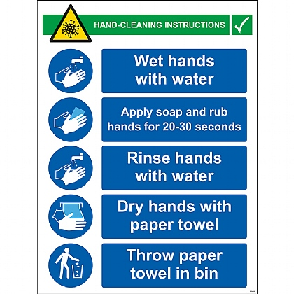 Hand Cleaning Instructions 1mm Rigid PVC 450x600mm