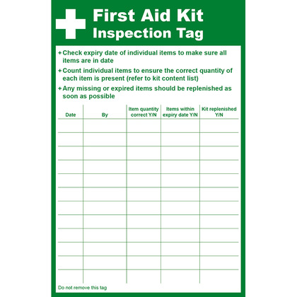 First Aid Kit Inspection Tag, 8.5 x 13cm
