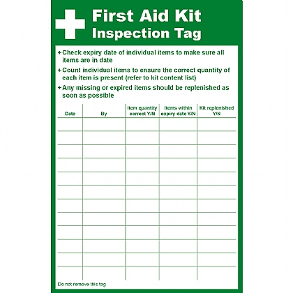 First Aid Kit Inspection Tag, 8.5 x 13cm (Pack of 10)