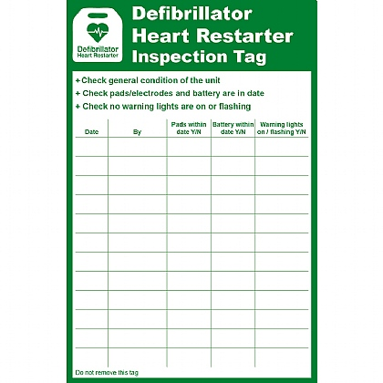 Defibrillator Heart Restarter (AED) Inspection Tag, 8.5x13cm (Pack of 10)