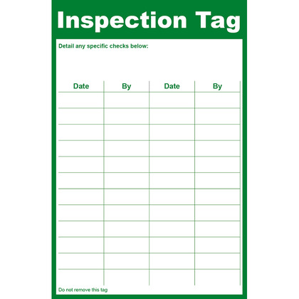 General Inspection Tag, 8.5x13cm