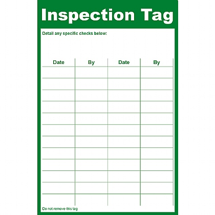 General Inspection Tag, 8.5x13cm (Pack of 10)