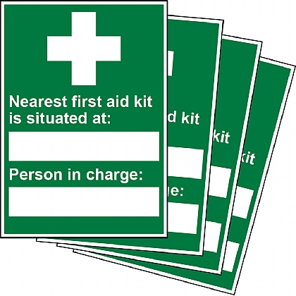 Nearest First Aid Kit and Person in Charge Updateable Sign A5