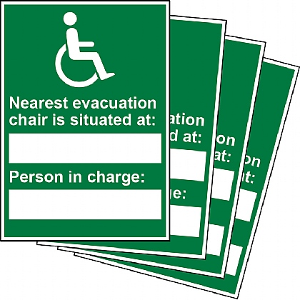 Nearest Evacuation Chair and Person in Charge Updateable Sign A5