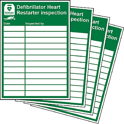 Defibrillator Inspection Sign Updateable Sign A5